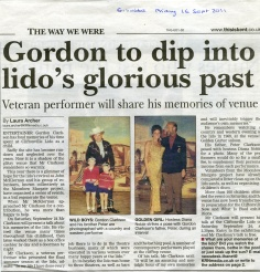 local celebrity, gordon clarkson, discussed the history of the lido and his years as a worker and performer to an audience of over 70 people. this highly successful event led to many emotions surfacing about the lido, cliftonville and greater thanet. committees were formed and new alliances appeared. how this has developed is unknown as at the beginning of 2012.